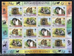 Guinea 2000 MNH Sheet, WWF, Monkeys, Wild Animals