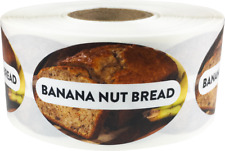 Banana Nut Bread Grocery Food Stickers, 1.25 x 2 Inches, 500 Labels on a Roll