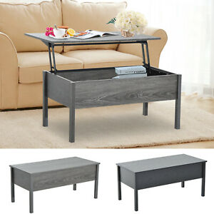 "39"" Modern Lift Top Coffee Table Floating Retractable Lift Top Hidden Storage"