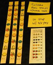 COLUMBIA 10 STOP SET REEL STRIPS w/ 3-5 AWARD CARD ANTIQUE SLOT MACHINE