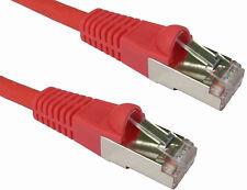 50cm RJ45 Cable Ethernet Cat 6 Gigabit blindado sin enganche corto Rojo Plomo de red