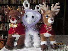 3 Build a Bears: Glisten 16 in. Reindeer,,Cape Light Up Antlers,Rudolph,Prancer