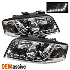 Fits 02-04 A6 Euro Clear R8 Style DRL Daylight LED Strip Projector Headlights