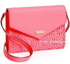 NWT KATE SPADE Perforated Flowers Leather Envelope Clutch Wallet HOT PINK CORAL