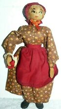 """Wooden Woman Doll in printed outfit 9"""""""