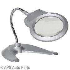 Desktop Magnifier 2 Super Bright LEDS Flexible Neck Nail Artist Reading Inspect