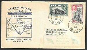 Ceylon Maiden Voyage Ship Cover S/S Exemplar, American Export Lines to USA 1940