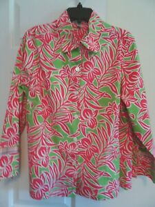 IZOD Women's Size 1X Pink/Lime Front Button Blouse-3/4 Sleeves-Cotton w. Stretch