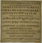 EARLY 19TH CENTURY BROWN STITCH WORK SAMPLER BY SARAH ANN WATTERSON - 1837