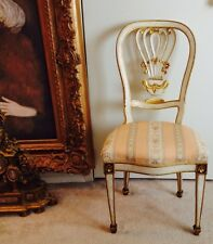 Antique Boudoir Side Chair European Louis Xvi Style Cream Painted Gilded