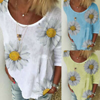 ❤️ Women's Ladies Summer Blouse Baggy Loose T Shirt Tee Floral Print Casual Tops