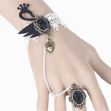 Gothic Style Bridal White Black Swan Lace Bracelet Ring Wrist Decoration BB145