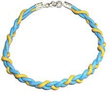 PULSERA de PLATA 1ª ley 925 con CUERO natural azul y amarillo . Unisex. Nuevo