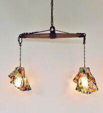 Vintage Industrial Pendant Chandelier Fused Glass Shades Wood Cast Iron Pulley