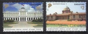 SINGAPORE 2015 INDIA JOINT ISSUE OFFICIAL RESIDENCE OF PRESIDENT 2 STAMPS MINT