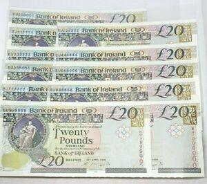 FABULOUS ONE/MILLION + 9 SOLID SERIALS KIRKPATRICK 2008 £20 BANK OF IRELAND UNC