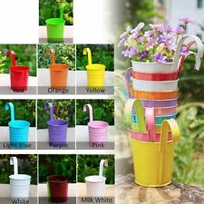 40X Iron Flower Pots Balcony Garden Wall fence Hanging Plant Buckets Multicolor