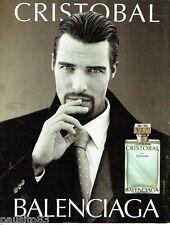 PUBLICITE ADVERTISING 016  2000  Balenciaga parfum homme Cristobal
