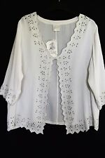WOMENS SHRUG TOP CROP TUNIC EMBROIDERED RAYON JACKET CUT OUT PLUS SIZE 16 L