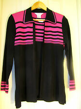 Twinset NWT Exclusively Misook Black with Pink stripes Open Jacket & Top PS