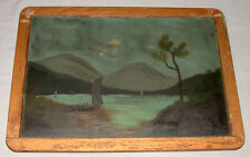 Original Antique Victorian 1890's Chinese Sail Boats Hand Painted Oil On Slate