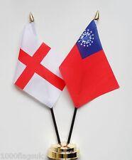 Angleterre & Burma 1974 pour 2010 Double Amitié Table Drapeau Ensemble