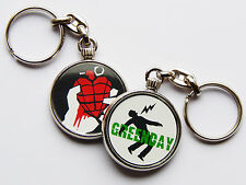 GREENDAY Punk Rock Band Quality Chrome Keyring Picture on Each Side!