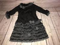 Isobella & Chloe Black Gray Ruffle Party Dress Size 5 Pop Over Long Sleeve