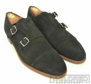 JOHN LOBB Black Suede Cap Toe Double Monk Strap Loafer Shoes UK 10.5 EE US 11.5