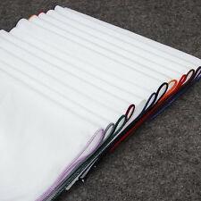 Lot 12 Packs Men's Cotton Handkerchief Solid White Suit Pocket Square Hankies