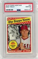 2018 Topps Heritage Mike Trout #47 PSA 10 GEM MINT Graded Baseball Card ANGELS