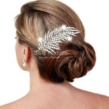 1920s Gatsby Diamante Feather Leaf Bridal Prom Hair Pin Clip Dress Slide Comb H6