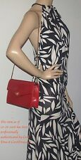 Authentic GUCCI Red Leather Shoulder Bag or Clutch Style Bag w/ Dust Cover RARE