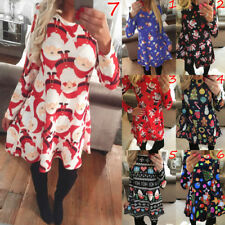 UK Womens Long Sleeve Ladies Xmas Party Swing Costume Girls Santa Mini Dress