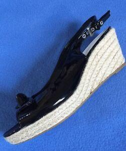 Nickels Ashton Black Patent Peektoe Bow Slingback Jute Wedge sz 9.5 M
