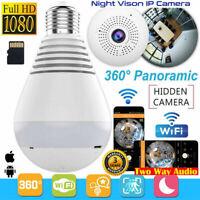 360°HD Wifi Bulb Hidden IP Camera Panoramic Security Spy-Cam Light LED S2O3