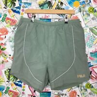 Vintage FILA XXL Swim Shorts Summer Light Green Spell Out Festival Holiday