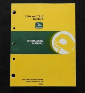 GENUINE 1996 1997 JOHN DEERE 7210 7410 TRACTOR OPERATORS MANUAL VERY NICE SHAPE