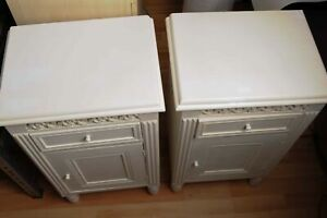 2x White Wooden Bed Side Cabinets with Carved Detail