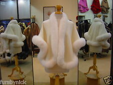 Ivory Cashmere Cape With White Fox Fur Trim Beautifully Canadian Label