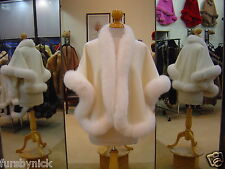 Ivory Cashmere Cape With White Fox Fur Trim - Beautifully Canadian