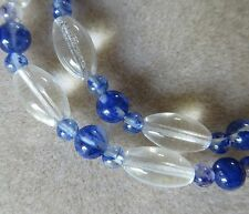 Flecked Blue quartz with clear glass beaded necklace silver plated clasp N653