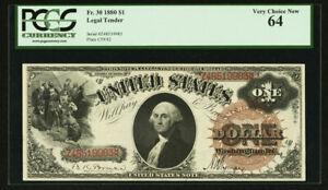"U.S.  1880  $1  ""LEGAL TENDER / U.S.NOTE""  BANKNOTE  FR-30, CERTIFIED PCGS CU-64"