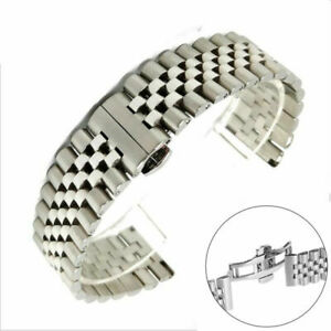 20/22mm Silver Stainless Steel Watch Band 5 Beads Replacement Bracelet Strap