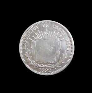 COSTA RICA 50 CENTIMOS 1923 ON 25 CENTAVOS 1892 SILVER KM 159 #1152#