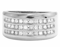 14K White Gold Over Diamond Men's 3 Row Channel Wedding Band Ring 1/2 CT 11MM