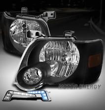 FOR 06-10 FORD EXPLORER/07+ SPORT TRAC BLACK HEADLIGHT LAMP +BUMPER BLUE DRL LED