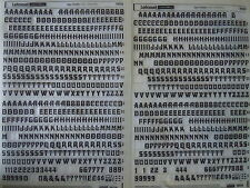 2 x LETRASET SHEETS of RUB ON LETTER TRANSFERS: Davida 36pt (#1504) PART USED