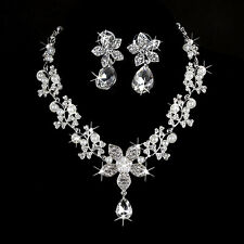 Rhinestone Crystal Flower Pearl Necklace Earring Jewelry Set Wedding Bridal New