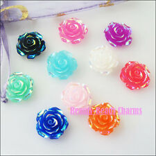 10Pcs Mixed Randomly Resin Rose Flowers Spacer Beads Charms 19mm